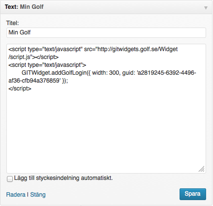 Wordpress text-widget